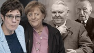Annegret Kramp-Karrenbauer, Angela Merkel, Ludwig Erhard und Konrad Adenauer (v.l.): Manche führten die CDU sehr lange Zeit, andere überaus kurz. (Quelle: imago images/Christian Spicker/United Archives International/Willi Schewski/Sven Simon)