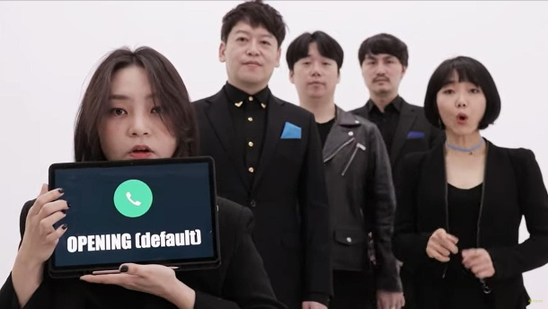 Viraler Hit: Die koreanische A-Cappella-Truppe singt iPhone-Sounds perfekt . Die Sänger von Maytree: Die koreanische A-Cappella-Truppe singt iPhone-Sounds perfekt (Quelle: Screenshot: Youtube / MayTree)