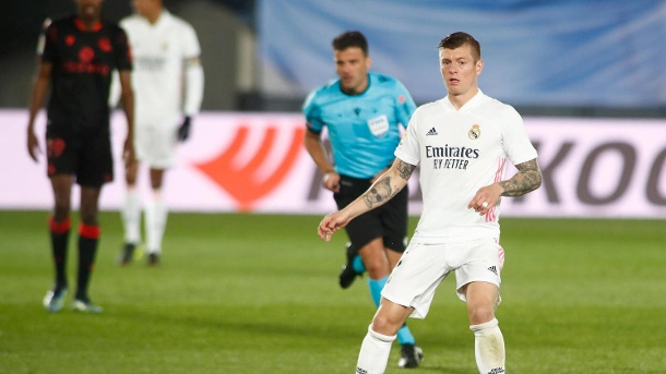 March 1, 2021, VALDEBEBAS, MADRID, SPAIN: Toni Kroos of Real Madrid in action during the the spanish league, La Liga San (Quelle: Ciro de Luca/Reuters)