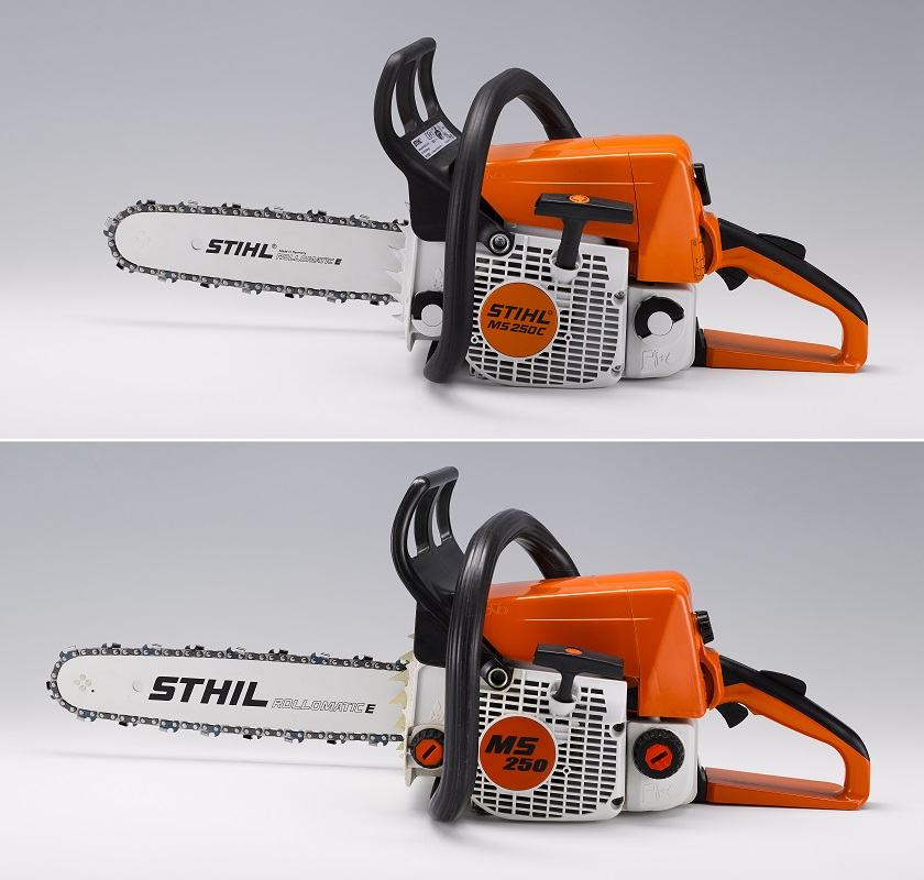 """""""Plagiarius"""" disgraceful prize: The photo shows a chainsaw from Andreas Stihl AG (above) and the imitation of the Chinese manufacturer Hangzhou Guley Garden Machinery (below). (Source: dpa / Aktion Plagiarius eV)"""