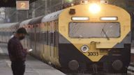 NEW DELHI, INDIA - FEBRUARY 22: A suburban passenger train running between Hazrat Nizamuuddin to Kurukshetra at Tilak Br
