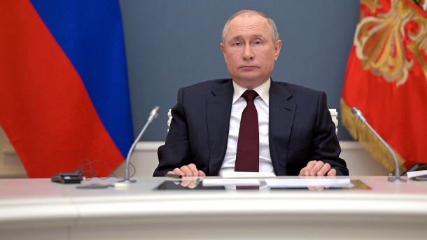 Russian President Vladimir Putin attends a virtual global climate summit in Moscow (Quelle: Reuters)