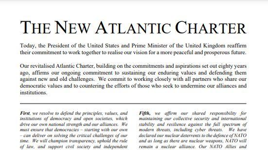 """Die """"New Atlantic Charter"""" (Quelle: Prime Minister's Office, 10 Downing Street )"""