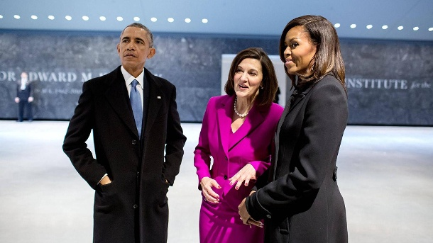 Will she be a Berliner?  Vicky Kennedy with Barack and Michael Obama (Source: Image Images)